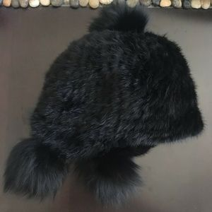 Nordstrom MINK + FOX Black Aviator Trapper Hat NWT